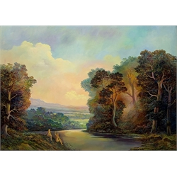 Bruce Kendall (British Contemporary): 'The Golden Light of  Evening', oil on board signed 49cm x 69cm