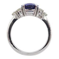 18ct white gold fine oval Ceylon sapphire and six round brilliant cut diamond ring, hallmarked, sapphire approx 2.50 carat, total diamond weight approx 0.50 carat