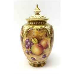 A Royal Worcester vase and cover, the body of ovoid for painted with apples, peaches and berries, signed T Nutt, with black printed mark beneath, and painted shape no H 169, H19cm.