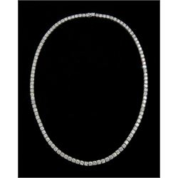 18ct white gold round brilliant cut diamond necklace, 107 round brilliant cut diamonds each in four claw setting, stamped 18K, total diamond weight 35.10 carat