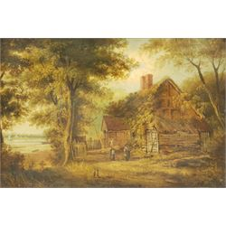 English School (19th century): Cottage by the Lake, oil on panel unsigned 21cm x 31cm; L Smith (British early 20th century): 'Derwentwater', watercolour signed and titled 28cm x 38cm (2)