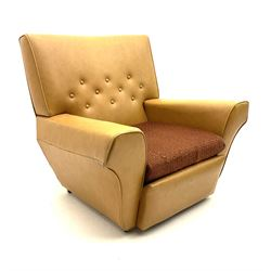 Retro armchair, buttoned tan leather upholstery, raised on castors