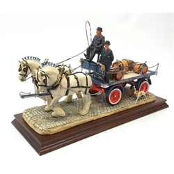 A limited edition Border Fine Arts figure group, 'The Gentle Giants' (Tetley's Dray), model no PJ01 by Ray Ayres, 186/750, on wooden base, figure L37cm.