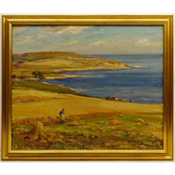 Owen Bowen (Staithes Group 1873-1967): Harvest Time on the Solway Firth Coast, oil on canvas signed 50cm x 60cm