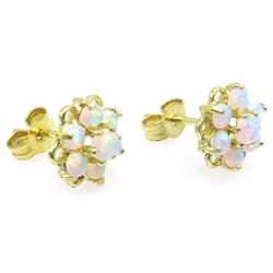 9ct gold opal flower stud earrings, stamaped 375