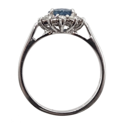 18ct white gold sapphire and diamond cluster ring, hallmarked, sapphire approx 1.20 carat