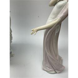 Large Lladro Figures, Spring Splendor, designed by Regino Torrijos, model number 5898, H30.5cm, the glass slipper, designed by Jose Puche, model number 5957, H29cm and Breathless, designed by Juan Ignacio Aliena, model number 6430, H31cm.