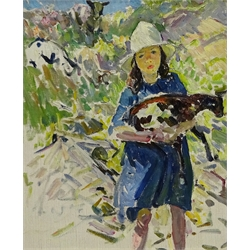 Dorothea Sharp (Newlyn School 1874-1955): Young Girl with a Lamb on a Hillside, oil on canvas unsigned 44cm x 37cm