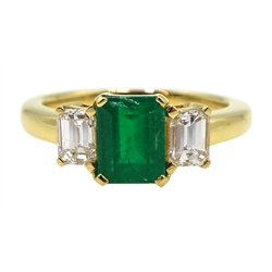 18ct gold emerald and baguette cut diamond ring, hallmarked, emerald approx 1.20 carat, diamond total weight approx 0.70 carat