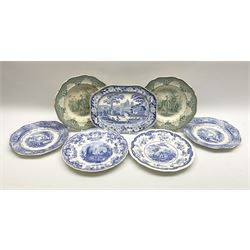 A pair of John Ridgway soup bowls, transfer printed in green with the Giraffe pattern, together with a group of other 19th century blue transfer printed wares, including a pair of Walmer pattern dinner plates.