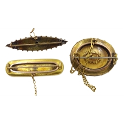 Victorian 15ct gold diamond and seed pearl buckle brooch Birmingham 1896 and two other Victorian 15ct gold diamond set brooches, tested or hallmarked