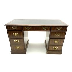 Contemporary mahogany twin pedestal desk, moulded rectangular top with inset leather, fitted with seven drawers, plinth base