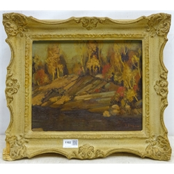 D M Stafford? (Canadian early 20th century): 'Autumn Lake Muskoka' Ontario, oil on board signed, titled and signed verso 24cm x 29cm