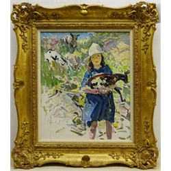 Dorothea Sharp (Newlyn School 1874-1955): Young Girl with a Lamb on a Hillside, oil on canvas unsigned 44cm x 37cm Provenance: private collection; with Trinity House Paintings, Broadway