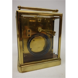19th century brass carriage clock attributed to 'Paul Garnier of Paris', engine turned silvered Roman dial, twin train movement with chaff-cutter escapement, petite sonnerie, striking the hours and quarters on two coils, with repeater, polished brass case with five bevelled glass panes, hinged carrying handle, the back plate inscribed 'halfield et hall Paris... 828', H14cm (minus handle), in green leather case  Serviced - 10/11/18