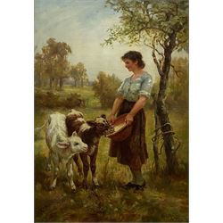 Frederick (Fred) Morgan ROI (British 1847-1927): Young Girl Feeding Calves, oil on canvas signed 81cm x 56cm in swept gilt frame Provenance:  private local collection, purchased by the vendor from Sotheby's London 15th June 1988 Lot 159 titled 'Motherless'; exh. Grosvenor Gallery London 1879 No.154; literature 'Grosvenor Notes' 1879 p.44 illustrated