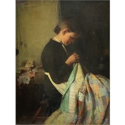 Thomas Hill (British 1852-1926): Young Woman with a Patchwork Quilt, oil on canvas signed 44cm x 34cm  Notes: there seems some confusion with the other Midlands artist of the same name with dates of 1829-1908