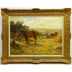 Ernest Higgins Rigg (Staithes Group 1868-1947): The Harvest Field with Horse Drawn Binder, oil on canvas signed 44cm x 59cm