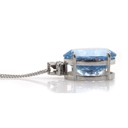18ct white gold oval aquamarine and three stone diamond pendant, aquamarine approx 17.00 carat, on a silver chain stamped 925