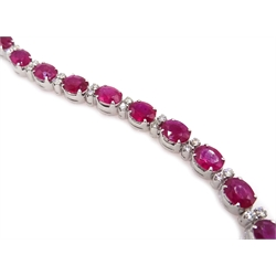 18ct white gold oval ruby and round brilliant cut diamond bracelet, stamped 750, ruby total weight 7.50 carat, diamond total weight 0.50 carat