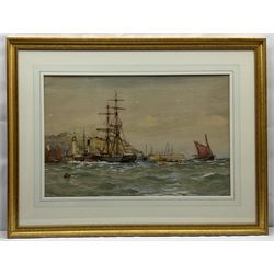 Ernest Dade (Staithes Group 1868-1934): Sailing Brig Paddle Steamer and Fishing Boats off the Lighthouse Pier Scarborough, watercolour heightened in  white signed 48cm x 73cm