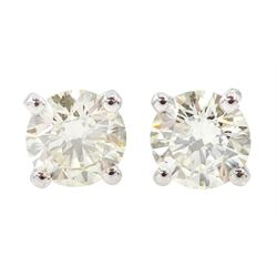 Pair of 18ct white gold round brilliant cut diamond stud earrings, stamped 750, total diamond weight 0.80 carat, with World Gemological Institute Report