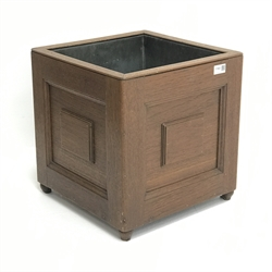 20th century Georgian design mahogany square planter, zinc lined, W38cm, D38cm, H39cm