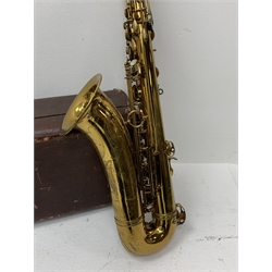 Henri Selmer Paris brass tenor saxophone with lacquered finish and chased decoration, serial no. M68865, L83cm including crook, in fitted carrying case