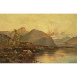 Alfred de Bréanski Snr. RBA (British 1852-1928): 'Cader Idris from Tregennan', oil on canvas signed, titled and signed verso 59cm x 89cm