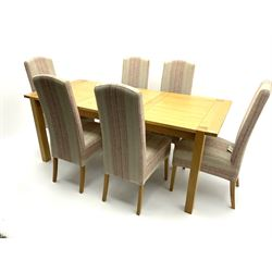 Marks & Spencer Home Sonama light oak extending dining table with leaf and six high back chairs with spare chairs fabric/curtains