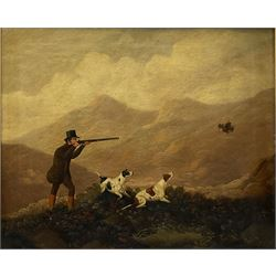 Attrib. Charles Henry Schwanfelder (British 1774-1837): Shooting on the Fells in the Lake District with Gun Dogs, pair oils on canvas unsigned 49cm x 59cm (2)