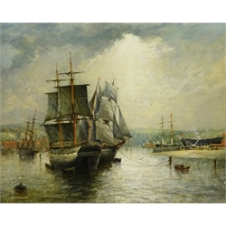 Richard Weatherill (British 1844-1923): 'Old Whitby Colliers', oil on canvas signed 43cm x 54cm Provenance: private collection purchased 2002