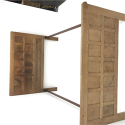 'Mouseman' 4' 6'' panelled oak bedstead with arcade carved cresting rails, by Robert Thompson of Kilburn