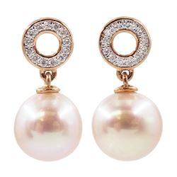 Pair of gold pearl and diamond pendant earrings, stamped 9K