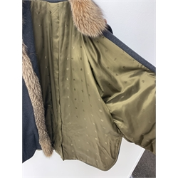 Schneiders' Salzburg Charcoal Cashmere batwing jacket with fox fur collar, trim and cuffs