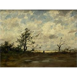 Henri Joseph Harpignies (French 1819-1916): 'Le Pecheur', oil on mahogany panel signed 26cm x 34cm Provenance: East Yorkshire private collection; with Thomas Agnew & Sons, Old Bond Street, labelled verso No.25450