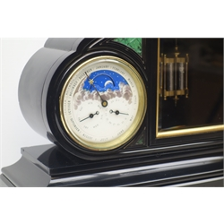 Late 19th century black slate perpetual three dial calendar clock, white enamel Roman dial with visible brocot escapement, twin train movement striking the hours and half on bell, calendar dial with moonphase, month, date and day subsidiary dials, and aneroid 'Metallic' barometer, malachite inlays and engraved detail, W60cm, H53cm