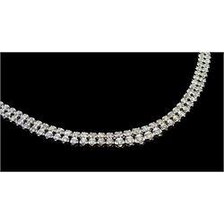 Platinum double row round brilliant cut diamond necklace, stamped Pt850, total diamond weight 5.08 carat