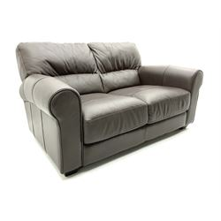 Three seat sofa and matching two seater upholstered in brown leather, L160cm and L220cm