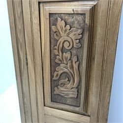 Late Victorian satin walnut wardrobe, projecting cornice, single mirrored door above drawer, plinth base, W128cm, H199cm, D47cm
