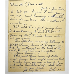 Walt Disney (1901-1966), American Animator, Academy Award Winner, signed letter card in blue ink, the envelope folding out to reveal six views in black and white of Romney, Hythe and Dymchurch Railway, and hand written letter detailed 'This afternoon we were talking to Walt Disney down at Dungeness, that's his autograph on the back of the card, he was driving one of the miniature trains.', post marked indistinct, dated 52.