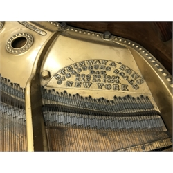 Steinway & Sons - Victorian rosewood cased grand piano, model 'O', iron framed and overstrung, serial no. '93958', circa. 1897, pierced scrolling music rest, turned and fluted supports with recessed castors, L187cm, W143cm, H99cm